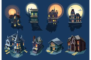 Spooky house vector haunted castle with dark scary horror nightmare on halloween moonlight mystery illustration nightly set of creepy building isolated on background