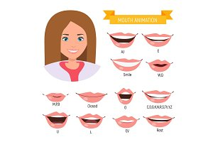 Female mouth animation. Phoneme mouth chart. Alphabet pronunciation