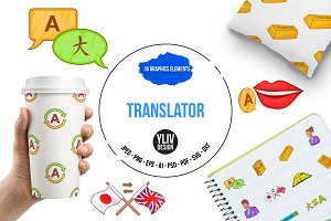 Translator icons set cartoon style