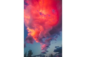 Dramatic sunset Pink sky background with clouds