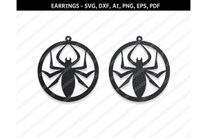 Spider earrings svg,eps,png,pdf,dxf