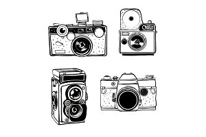 Retro photo camera set vector doodle illustration