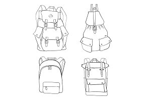 Hand drawn sketch outline backpack set isolated on white background