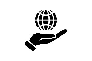 Web icon. Globe in hand. black