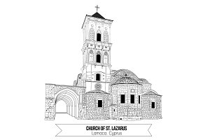Church of St Lazarus in Larnaca Cyprus. Doodle style historic architecture sight attraction. Vector illustration.