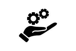 Web icon. Gears (mechanism) in hand