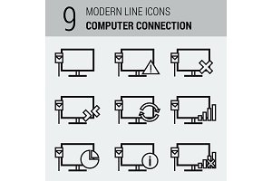 Line Icons Set - Computer Connection