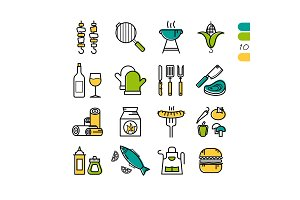 Set linear BBQ grill colored icons