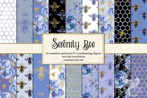 Serenity Bee seamless digital paper