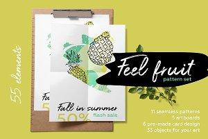 Feel fruit. Summer brush pattern set