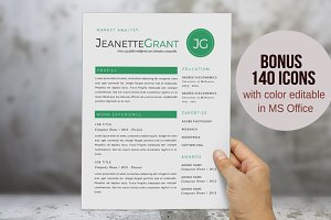 3 in 1 green round initials resume