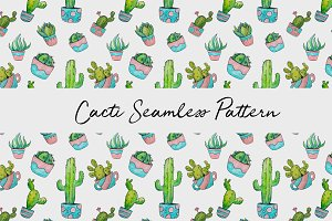 Hand Drawn Watercolor cactus pattern