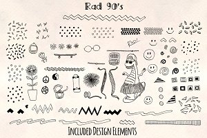 Rad 90's Vector Sketch + Pattern Kit