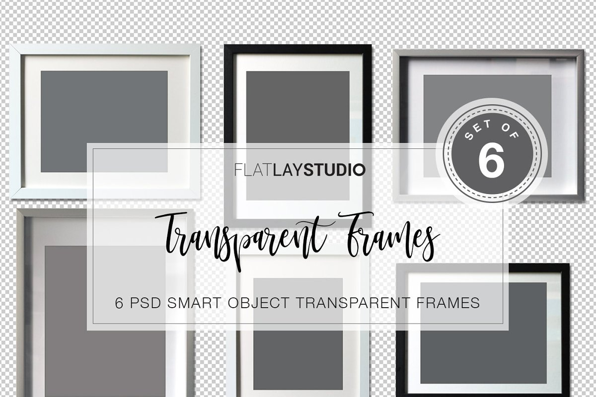6 TRANSPARENT FRAMES / Smart Objects in Print Mockups - product preview 8