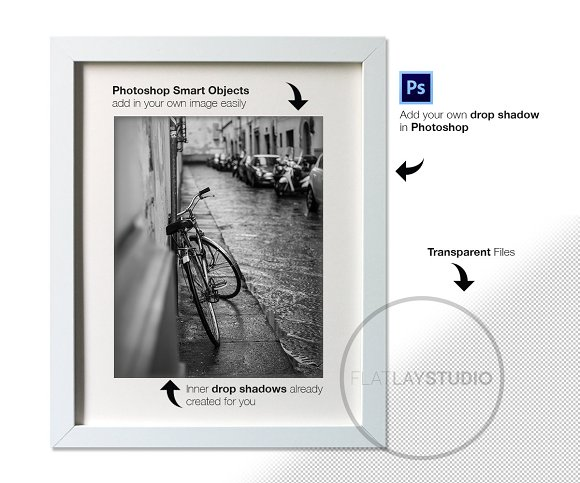 6 TRANSPARENT FRAMES / Smart Objects in Print Mockups - product preview 1
