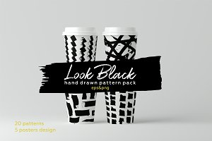 Look black. Hand drawn brush pattern