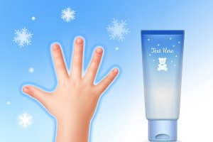 Child hand and tube with cream