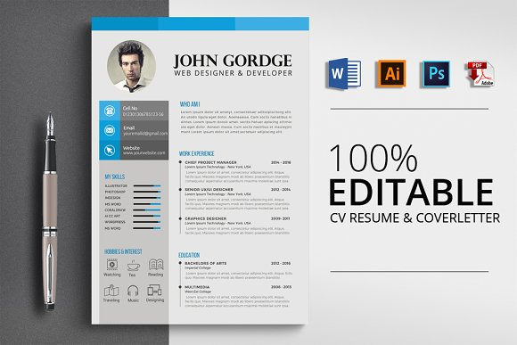 CV Resume Word Format Template