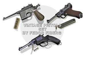 Retro pistols with bullets vector