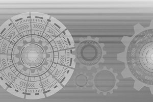 HUD. Abstract technology circles. Graphic design isolated on grey background, 3d illustration