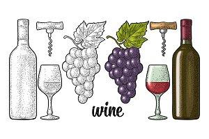 Wine set. Bottle, glass, corkscrew, bunch of grapes. Engraved