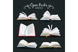 Open books. New open book set with bookmark between pages for encyclopedia and notebook, dictionary and textbook icons