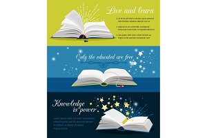 Books reading banners. Open book with stars and magic glow and text vector