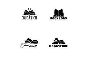 Books and education logo set. Paper book black emblems designs for learning or school projects