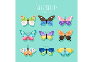Butterfly collection illustration. Spring butterflies isolated on white background with colored wings