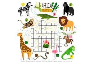 Crossword africa animals. Kids zoo african crossword for school children, words searching game