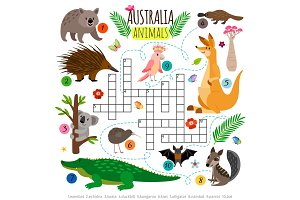 Australian animals crossword. Kids words brainteaser, word search puzzle vector game