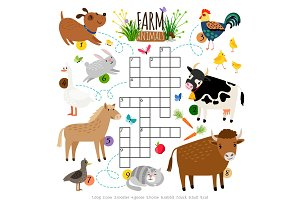 Farm animals crossword. Kids crossing word search puzzle game with cat and cow, dog and cock, horse and duck