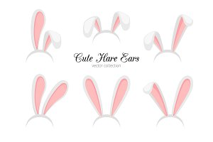 Hare ears. Vector funny cartoon easter rabbit or bunny ears band for costume design isolated on white background