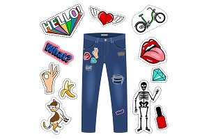 Patch on blue jeans. Fashion girl denim apparel vector patch set on white