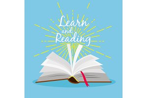 Book learn poster. Open book with gold star linear explosion vector
