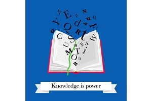 Reading book icon. Open school book with letters icons and text knowledge is power for digital computer library vector