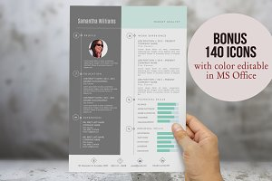 2 in 1 photo Word resume template