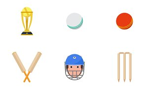 Cricket sport game icons set