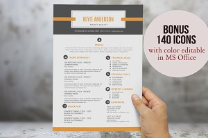 2 in 1 banner icon Word resume