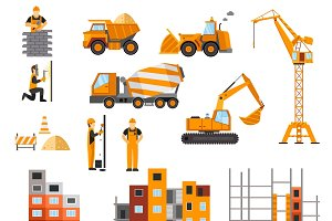 Construction machines icons flat set