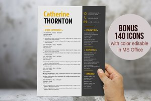 Bold 2 in 1 Word resume template pkg