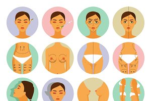 Plastic surgery icons set flat