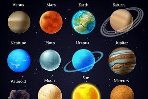 Cosmos stars planets galaxy icons