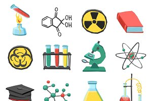 Laboratory chemistry icons set