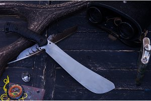 The knife of the huntsman. Knife of a forest worker.