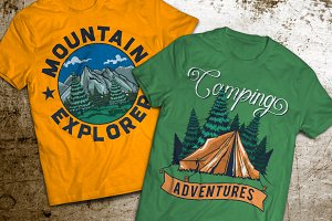 Camping T-shirts And Poster Labels