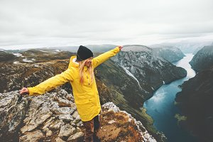 Woman tourist traveling in Norway