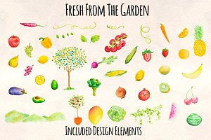 Fruit and Vegetable Watercolor Kit