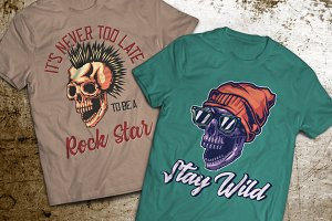 Skull T-shirts And Poster Labels