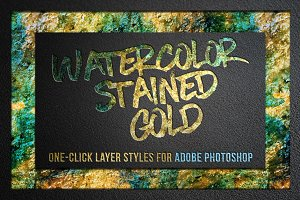 Watercolor and Gold Layer Styles PS